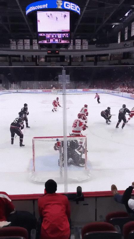 Boston University hockey players at a game