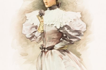 A painting of a woman wearing 19th century clothing.