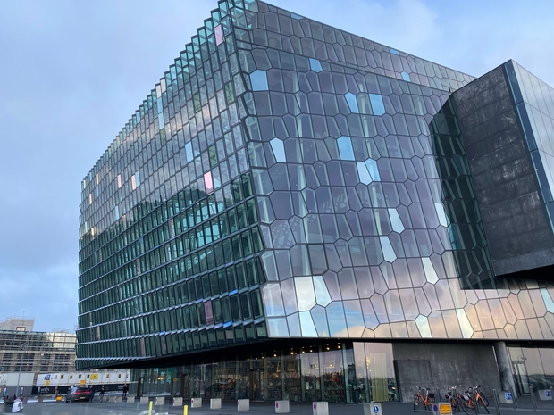 Outside the Harpa Concert Hall