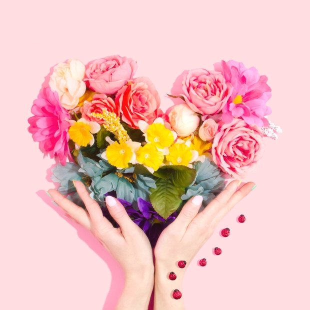 Heart-shaped bouquet of flowers