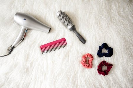 Scrunchies and hair accessories flat lay