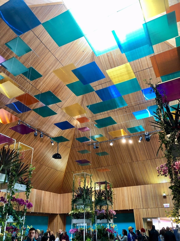 Ceiling with colorful glass squares at Chicago Botanic Garden