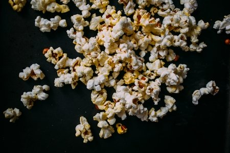 Popcorn on black background