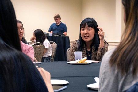 karen chee speaking to students