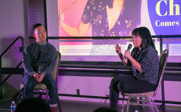 karen chee speaking to an audience with terry park