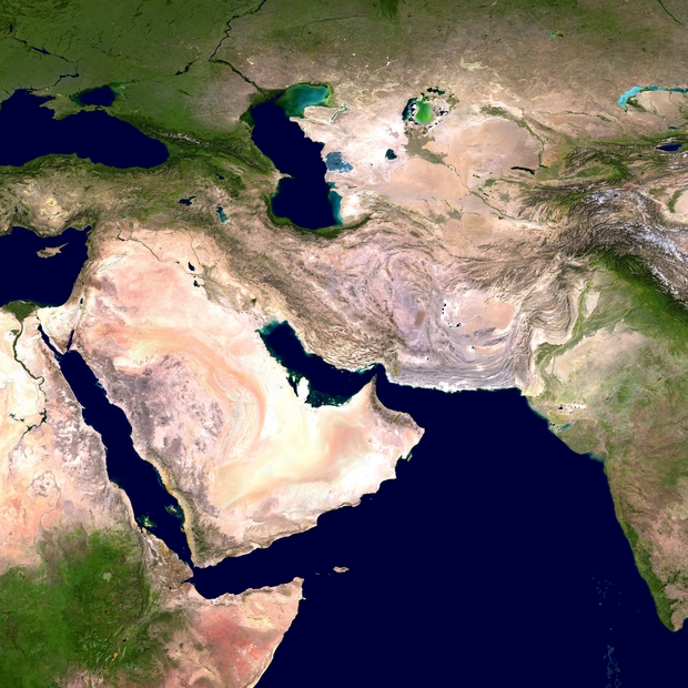 satellite of Asia, water and land illustration