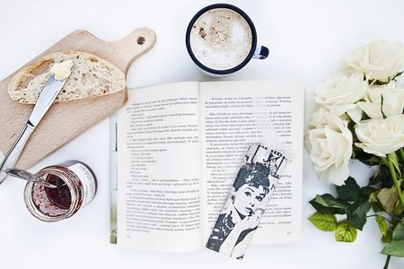 book, flowers and audrey hepburn