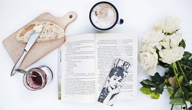 book, flowers and audrey hepburn