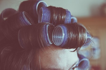 Hair in hot rollers