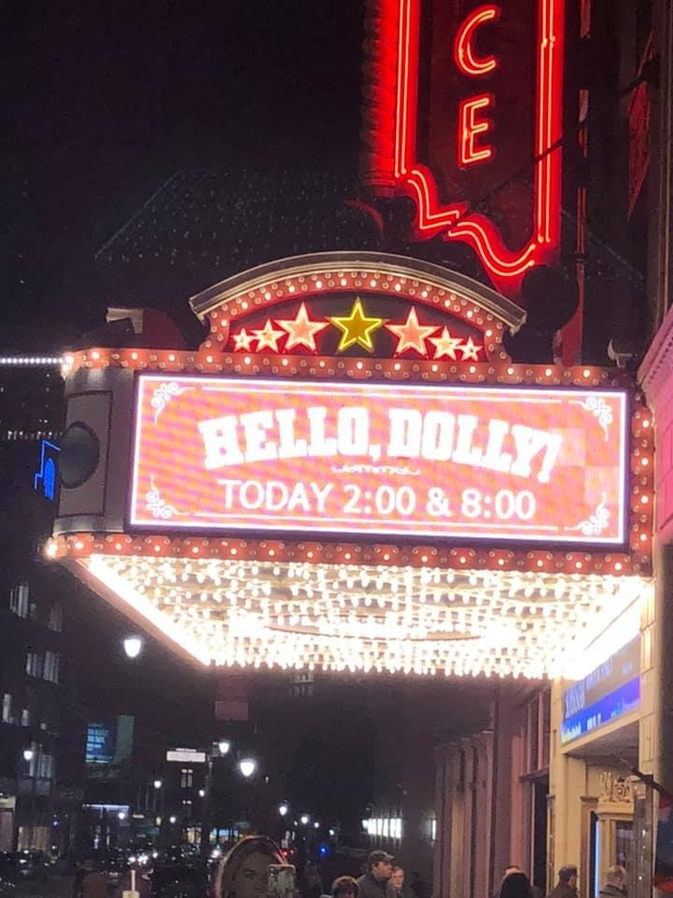 Marquee at the Providence Preforming Arts Center before Hello, Dolly touring performance