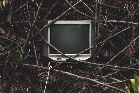 gray widescreen CRT TV