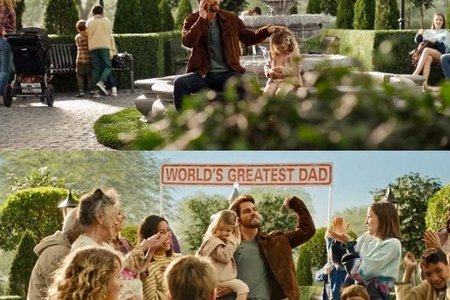 Music video screenshot: Taylor Swift with a child