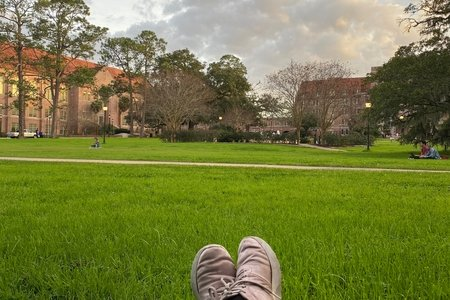 I am laying on Landis Green with pink shoes
