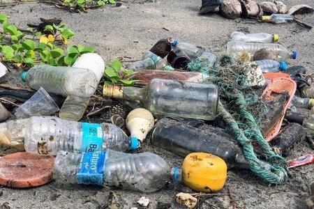 Bottles on sand