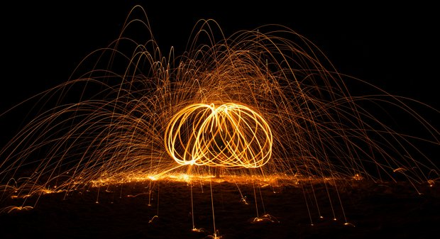 Night photo of steel wool photography.