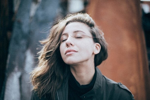 Woman with hair in wind
