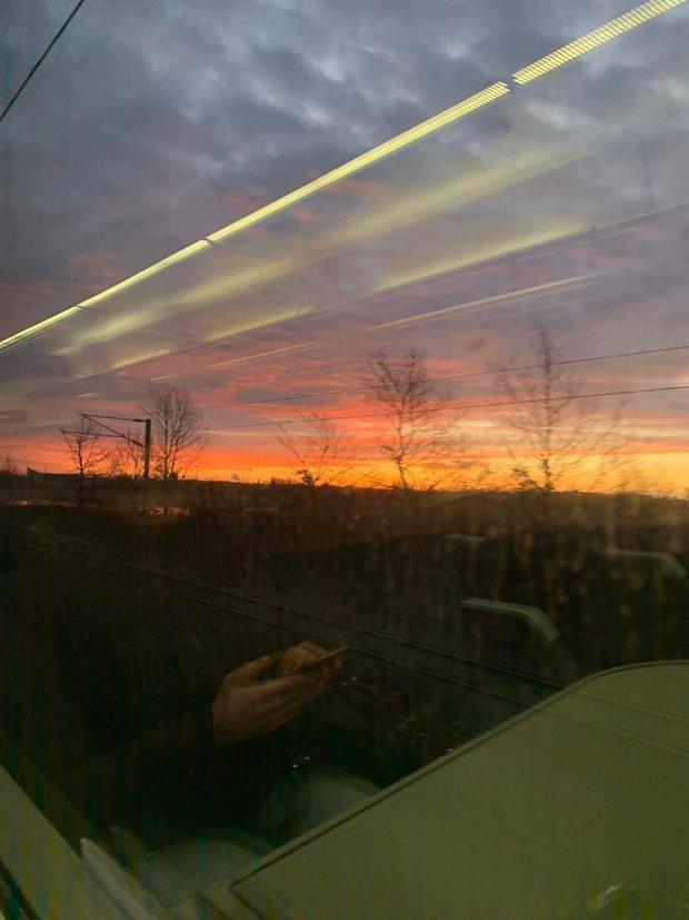 train sunset