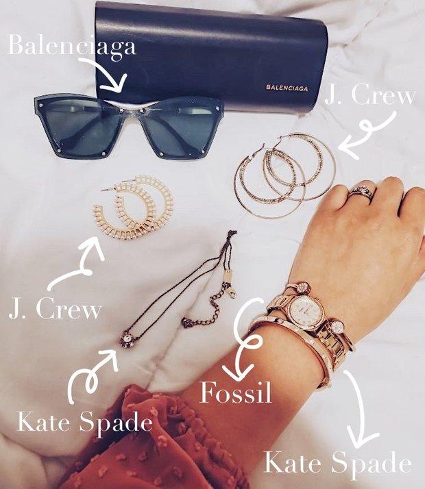 Flatlay of gold jewelry