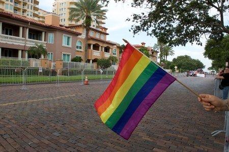 hand holding pride flag at pride parade