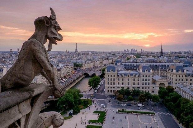 ariel view of Paris, France at sunset