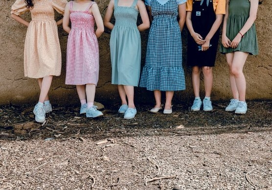 six women standing in dresses against a cliff