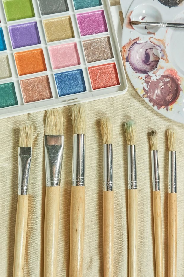 brushes and watercolor palette
