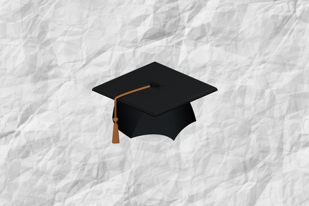 A graphic of a graduation cap against a crumpled paper background.