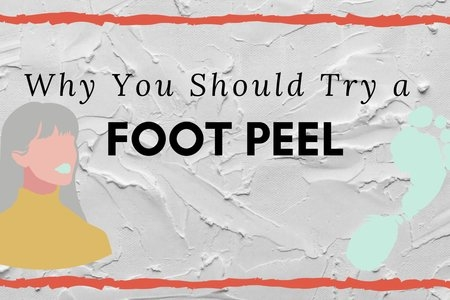 """article cover for """"why you should try a foot peel"""", cartoon girl and footprint"""
