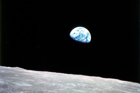 view of Earth from Moon at an angle