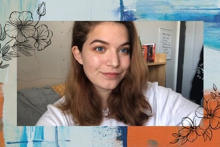 selfie of woman with artsy background and flowers