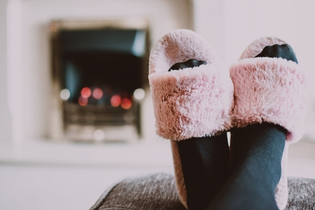 pink fuzzy slippers