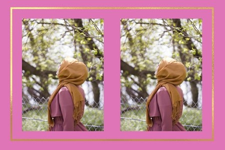 Woman in hijab enjoying the summer breeze under trees