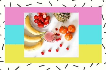 fruit on a table with a colorful background