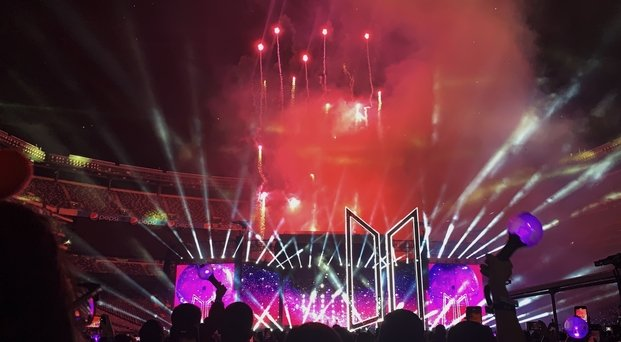 fireworks at Kpop band BTS concert at MetLife Stadium