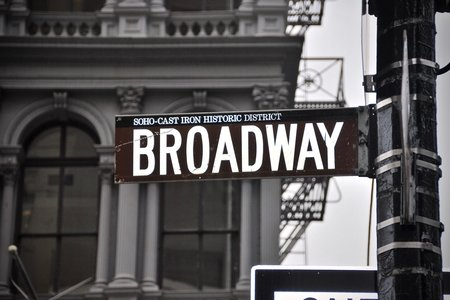 black and white Broadway signboard