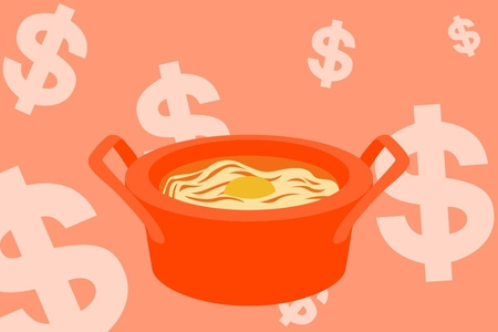 Orange graphic of ramen and dollar signs