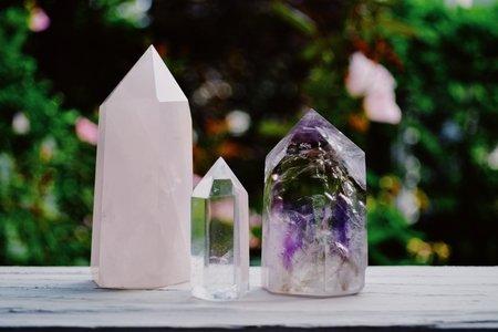 3 crystals on wood