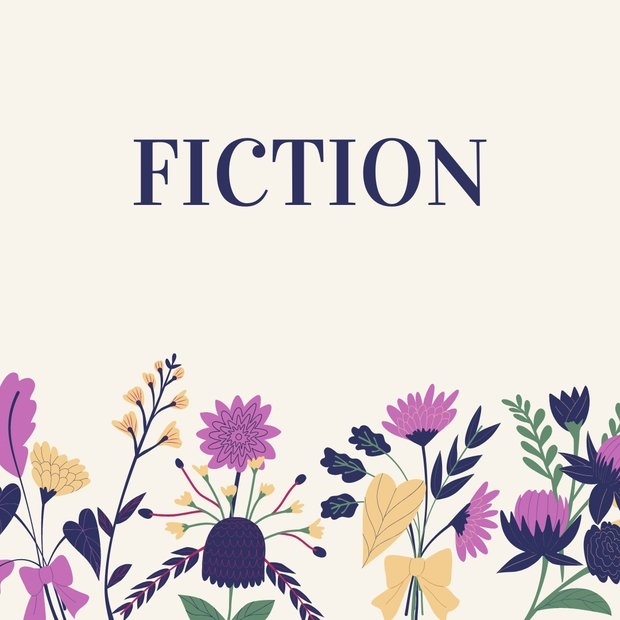"Graphic of flowers with text stating ""Fiction"" to be used in a listicle"