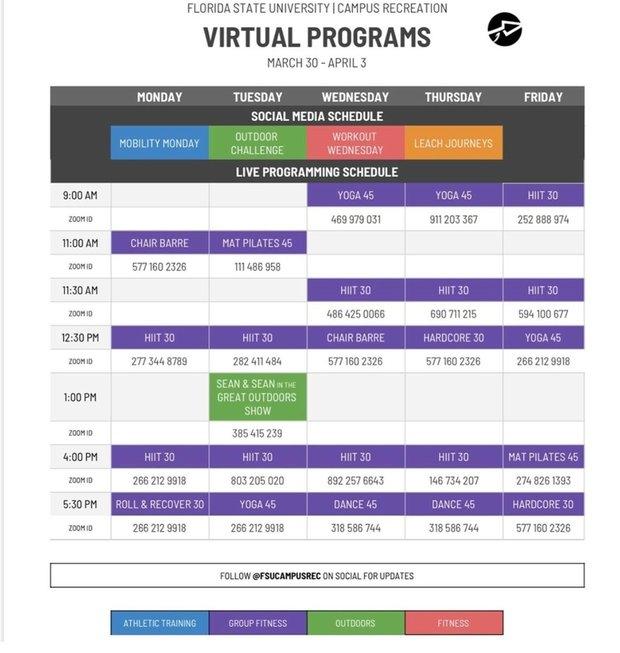 Campus Rec online schedule