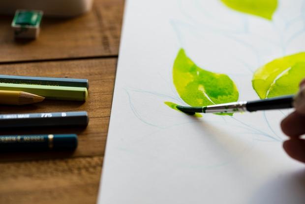 Watercolor leaf painting
