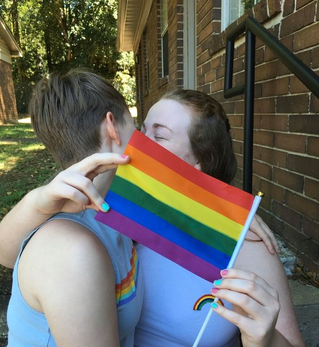 Devon and Lindsey celebrate their love with rainbows