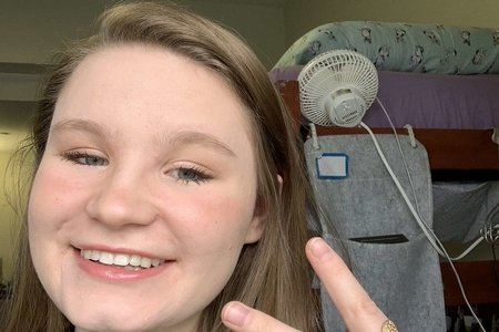 My friend Ally, girl with peace sign