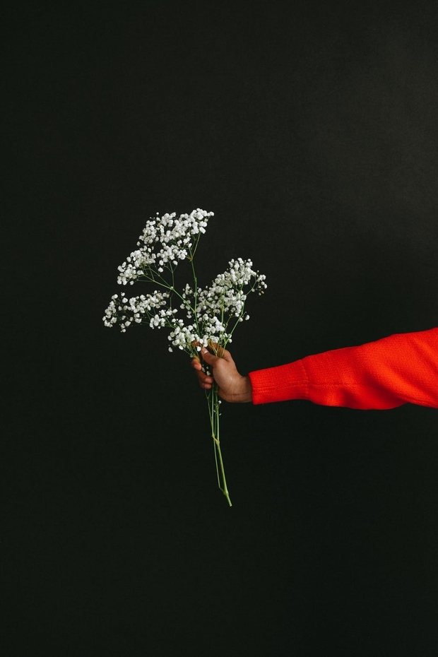 holding flowers