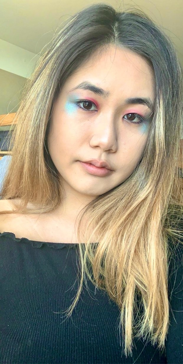 selfie of woman wearing makeup