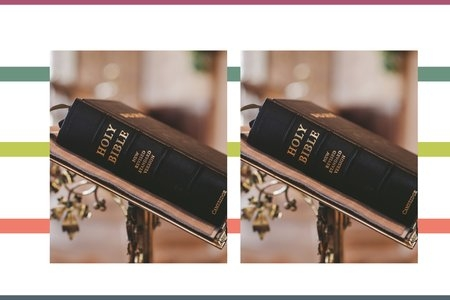 hero image for bible verses that support equal rights, picture of bible with stripe background