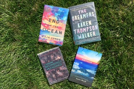 4 books in the grass horizontal photo