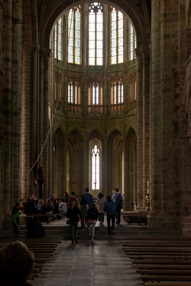 People standing inside a cathedral