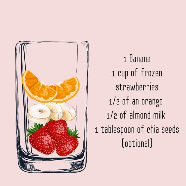 strawberry smoothie graphic recipe