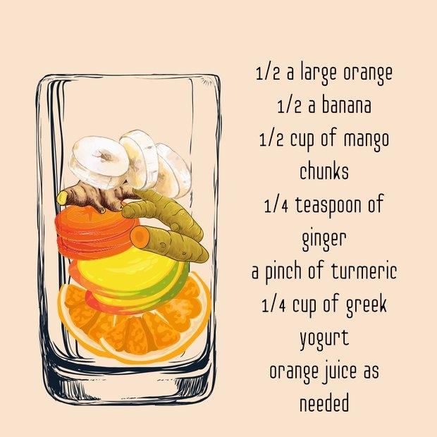 orange cold busting smoothie graphic recipe