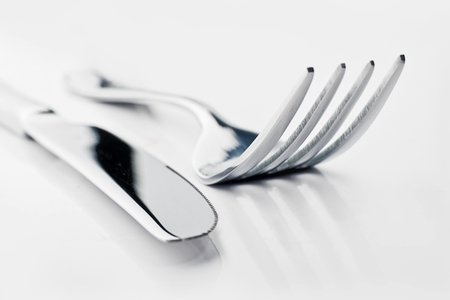 up close photo of fork and knife